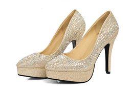 Wholesale Wedding Heel Gold Strap Diamonds - New bride shoes red married female aureate high-heeled shoes heel waterproof pointed silver wedding diamond single for women's Wedding Shoe