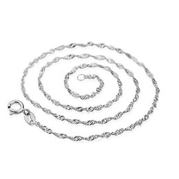 Wholesale Sterling Silver Wave Chains - Factory Price 1.4MM 18inch Chain Necklace 925 sterling Silver Water wave chain Necklace Jewelry