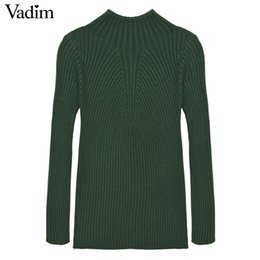 Wholesale Ladies Knit Neck Warmer - Wholesale- Women basic candy color stretchy sweater biref must have long sleeve O-neck autumn winter warm pullover ladies casual tops ZC061