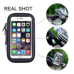Wholesale Mobile Phone Mount Motorcycle - Universal bike bicycle car motorcycle handlebar mobile phone mount holder waterproof case For iphone 6 6s 7 7plus 4.7 5.5