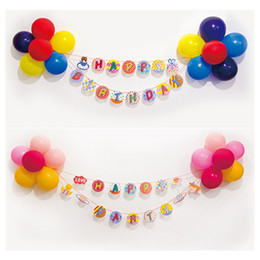 Wholesale Banner Sets - Wholesale- Happy Birthday Banner Balloons Bunting Set Happy Party paper Flag Party bell garland Decoration for birthday event Wholesale