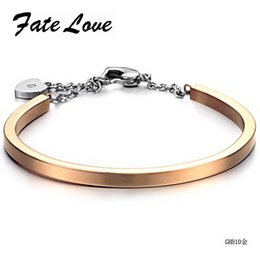 Wholesale Stainless Steel Female Locking - Wholesale-2015 New Fashion new arrival fashion jewelry lock titanium female bracelet FL810