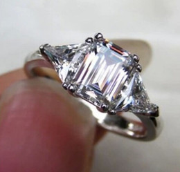 Wholesale Emerald Cut Diamond Yellow Gold - 3 Ct Emerald Cut NSCD Diamond Engagement Wedding Ring Sterling Silver PT Plated
