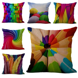 Wholesale rainbow cars - Colors Rainbow Geometric pattern Pillow Case Cushion cover Linen Cotton Throw Pillowcases sofa Bed Car Decorative Pillow covers fre shipping