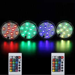 Wholesale Fishing Led Controllers - 10PCS LED RGB Submersible LED Light Multi Color Underwater Fish light Wedding Party Christmas Vase Base Floral Light With Romote Controller