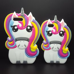 Wholesale 3d Animals Phone Covers - Hot Cute 3D Rainbow Unicorn Horse Animal Cartoon Soft Silicone Phone Cases Cover For iPhone 7 7Plus 5 5G 5S SE 6 6G 6S 6Plus 5.5