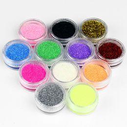 Wholesale Liquid Gel Nail Kits - Wholesale-New 12 Color Nail Art Tool Kit UV Dust False Gem Nail Tools UV Gel Nail Powder Carving Acrylic Powder Liquid Glitter Wholesale