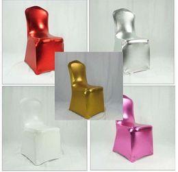 Sillas de hotel usadas online-Bronceado Spandex silla cubierta para el hotel de la boda uso banquete sin barandilla silla multicolores envío gratis WA0105