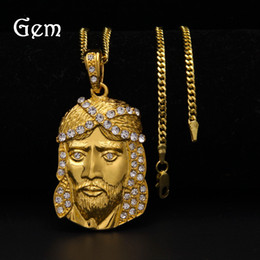 Wholesale Brass Jesus - Full Diamond Jesus pendant Pop Hip Hop Necklaces For Men Top Quality Brand Hiphop Jewelry Gold Plating Chains Club Accessories Freeshipping