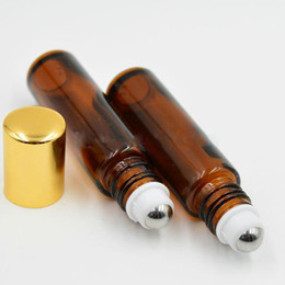 Wholesale Glass Bottle Roll Cap - Factory Price 10ml Roll on Perfume Bottle 10 ml Amber Essential Oil Roll On Bottle 10 ml Small Glass Roller Container Gold Cap