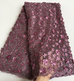 Wholesale Allover Lace - Unique classic grayish purple French Lace cord embroidery African tulle lace fabric with small sequins Allover appliques beads