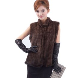 Wholesale Ems Free Vest - New arrivals genuine mink fur vest women knitted mink fur jacket winter mink waistcoats big size Free Shipping EMS