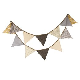 Wholesale Birthday Bunting - Wholesale- New Arrival 12 Flags 3.2M Coffee Fabric Banners Pirate Bunting Decor Birthday Party Home Decoration Room Garland