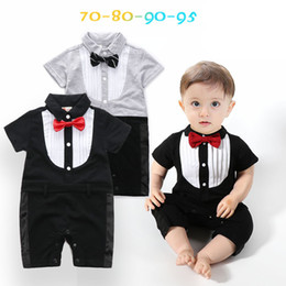 Wholesale Newborn Clothes For Cheap - wholesale high quality boys gentleman romper 100% cotton toddlers long sleeves jumpsuit for newborn boy cheap kid clothes from china en gros