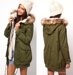 Wholesale Lined Army Green Jacket Women - Faux Fur Fall Winter New Arm Green Women Men Jackets Casual Cardigan Jacket Outwear Hooded Thick Warm Long Sleeve Winter Coat FS0704