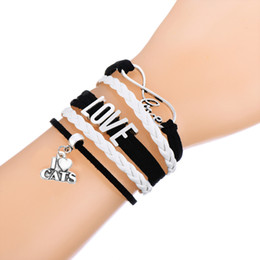 Wholesale Infinity Jewellery Wholesale - Antique Charm Bracelets Love With I Love Cats & Paw Print Charm Infinity Braided Leather Bracelets Fashion Wrist bands Jewellery