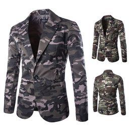 Wholesale Man Army Blazer - HOT! Military style army green camouflage Blazers men Single Breasted 100% cotton Slim Man's suits free shipping