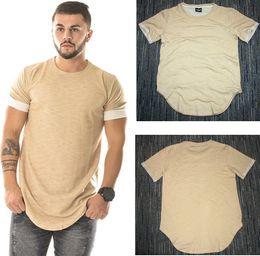 Wholesale Men Cotton Plain T Shirts - Wholesale free shipping 100% cotton Curved Hem Hip Hop T-shirt Men Urban Kpop Extended T shirt Plain Longline Mens Tee Shirts Male Clothes