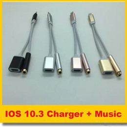 Wholesale Ios Iphone Usb - IOS 10.3 Colorful 3.5 mm Headphone Jack Adapter For iPhone 7 plus 6 6s Earphone Charger Cable 2 in 1 USB Charging Cables