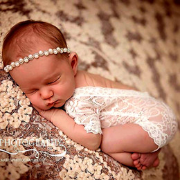 Wholesale Infant Bodysuits Baby - Newborn Baby Full Lace Rompers Baby Girls Boys Cute petti Rompers Jumpsuits Infant Toddler Photo Clothing Soft Lace Bodysuits 0-3M