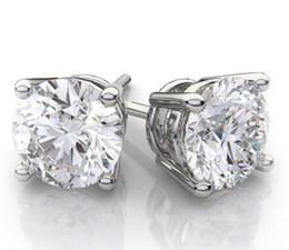 Wholesale Lab Diamond Stud - 4CT 14k White Gold Round Lab Created Diamond Earrings Basket Solitaire Studs