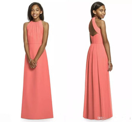 Wholesale Juniors Bridesmaid - 2017 Coral Junior Bridesmaid Dresses Halter Sleeveless A Line Floor Length Long Open Back Cheap Beach Bridesmaid Dress