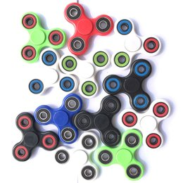 Wholesale Triangle Packaging - Best Triangle Tri HandSpinner Finger Hand Fidget Spinner Top EDC Acrylic ABS Plastic Metal Gyro Decompression Anxiety Toys With Package