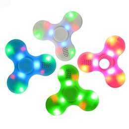 Wholesale Music For Toys - Bluetooth Hand Fidget Spinner Led Cube Music Finger EDC Spinners Tri SpinnerToy For Decompression Plastic Toys in Stock OTH439