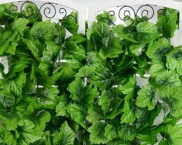 Wholesale Flowers Fence - Popular 240cm Artificial Grape Leaf Green Leaves rattans for Fence Home Decor Bar Restaurant Wedding fence Decoration climbing vines MYY