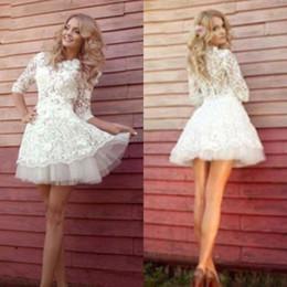 Wholesale Cheap Short Casual Wedding Dresses - Casual Lace Short Beach Wedding Dresses A-line 2017 Cheap Jewel Half Sleeve Tulle Mini Bridal Gowns Custom Made EF6298