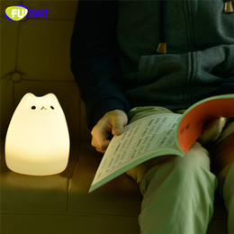 Wholesale Fluorescent Dimmer - FUMAT Cute Kitty Night Light Soft Silicone Gradual change USB Charging Kids Bedside Vibration Sensor Dimmer Lamparas Night Lamps