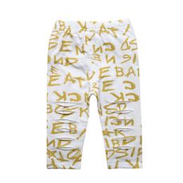 Wholesale Lycra Children Girl Leggings - 5pcs lot Summer Baby Girls Legging Cotton Girl Short Pants Calf-length Pant Kids Gold Letters Leggings for Children Clothes