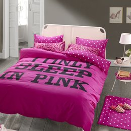 Wholesale Leopard Red Print Bedding - Wholesale- Rose red pink bedding queen size duvet cover flat sheet with sexy leopard print girls bedding sets for adults wedding bedding