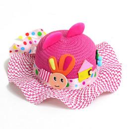 Wholesale White Plastic Straws - 1PCS Children's Baby Girl Kids Sun Hat Summer Lovely Fashion Straw Hat Beach Cap for 2-7 Year Toddlers Infants