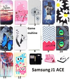 Wholesale Galaxy Ace Leather - for Samsung Galaxy J1 ACE J2 ON5 ON7 LG Angler Wiko Sunset Sunset2 Lenovo S90 Owl Flower Butterfly Painted Wallet Leather Case cover 50PCS
