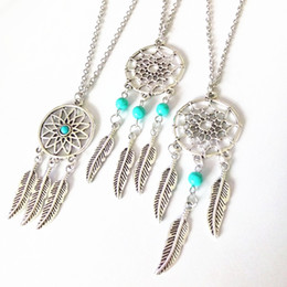 Wholesale Feather Necklaces - Hot dream catcher statement necklaces sterling silver jewelry wings feather long pendant necklaces for women free shipping D161