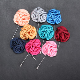 Wholesale Fashion Lapel Pins Wholesale - 15 Color Classic Men Flower Brooch Pins Fashion Imitated Silk Fabric Boutonniere Stick Lapel Pin For Suit Party Wedding Jewelry A150