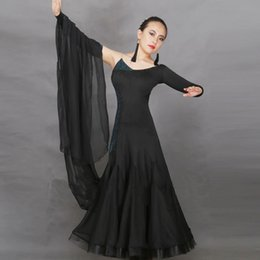 Wholesale Ladies French Dresses - Professional Latin Dance Dresses For Ladies Black Color Tassel Rhinestone Skirts Women Dinners French Korea Dancing Clothes 1190