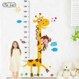 Wholesale Vinyl Ruler - Kids Height Chart Wall Sticker Home Decor Cartoon Giraffe Height Ruler Home Decoration Room Decals Wall Art Sticker Wallpaper