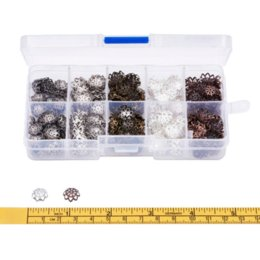 Wholesale Vintage Filigree - 525pcs box 5Colors Metal Flower Bead Caps 9x4mm Vintage Filigree DIY Jewelry Making Findings Accessories components supplies