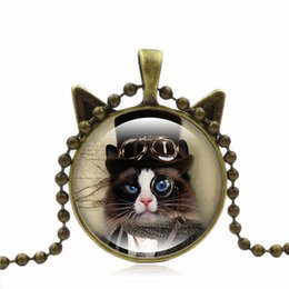 gems animals Australia - Vintage Fashion Cat Time Gem Cabochon Necklace Animal Love Glass Pendant Nice Jewelry Accessary Gift Girl Black Brown Silver