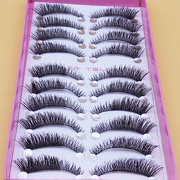 Wholesale Shortest Eyelash - Exaggerated Thick False Eye Lashes 1 Box 10 Pairs Fake Eyelashes Naturally Short Paragraph Cross Eye Slim Makeup False Eyelashes