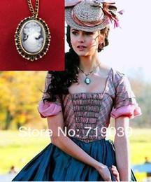 Wholesale Vampire Diaries Movie - Free shipping wholesale 10pcs lot Vampire Diaries Katherine's Cameo Pocket watch necklace movie jewelry,original factory supply