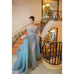 Wholesale Festival Short Film - Sheer Neck Short Sleeve Evening Dress Cannes Film Festival Celebrity Prom Dresses With Detachable Train Party Gown Real