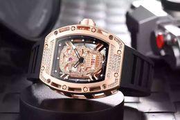 Wholesale Mens Watches Replicas - 2017 big bang geneve Skull Tourbillon luxury mens wristwatch diamond skeleton quartz transparent glass back rose gold men replicas watches