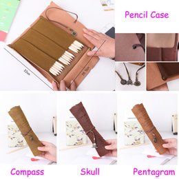 Wholesale Vintage Treasure Map - Vintage Classic Pirate Treasure Map Roll Up PU Stationery Bag Kid Pencil Case Shutter Pen Bags Pencil Bags Cosmetic Pack Multifunction Pouch