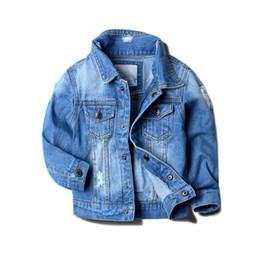 Wholesale Boys Jeans Jackets - 2017 Baby Boy Denim Jacket Leisure Coat Children Kids Jeans Boys Girls Ripped Jeans Jackets Kids Denim Jacket Cardigan Coat