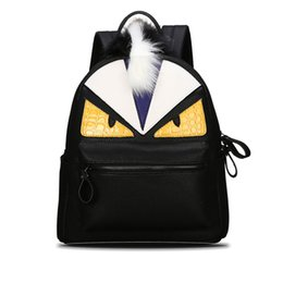 Wholesale Mini Cute Cell Phone - Wholesale- Women's Backpack Designer Black Cartoon Eyes Monster Backpacks With Fur Travel Bag Cute Backpacks For Teenage Girls