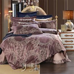 Wholesale Duvet Sets Silk - Wholesale- 2016 NEW High Quality Silk satin Jacquard Bed Bedding set Queen king size Bedclothes Duvet cover set European classical style