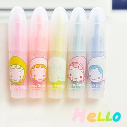 Wholesale Mini Chalk - Wholesale- D18 Set of 5 Cute Lovely Girl Mini Highlighter Paint Marker Pen Drawing Liquid Chalk Stationery School Office Supply Kids Gift